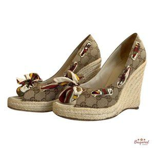 Authentic GUCCI Canvas Wedges 171100 US Size 7.5